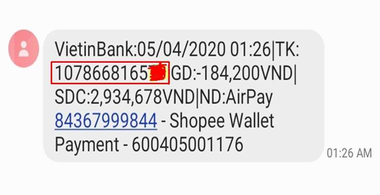 Xem số tài khoản qua sms banking