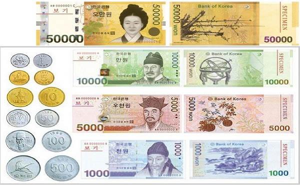 Tiền Won Hàn Quốc đang lưu thông dưới dạng tiền xu và tiền giấy