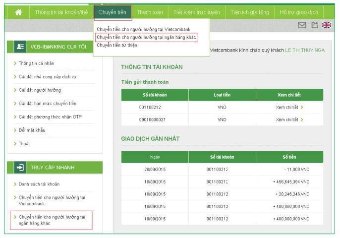 chuyển tiền khác ngân hàng qua internet banking