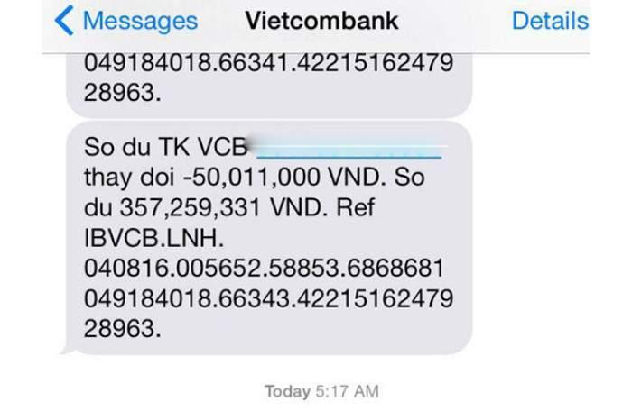 Kiểm tra tài khoản qua SMS Banking